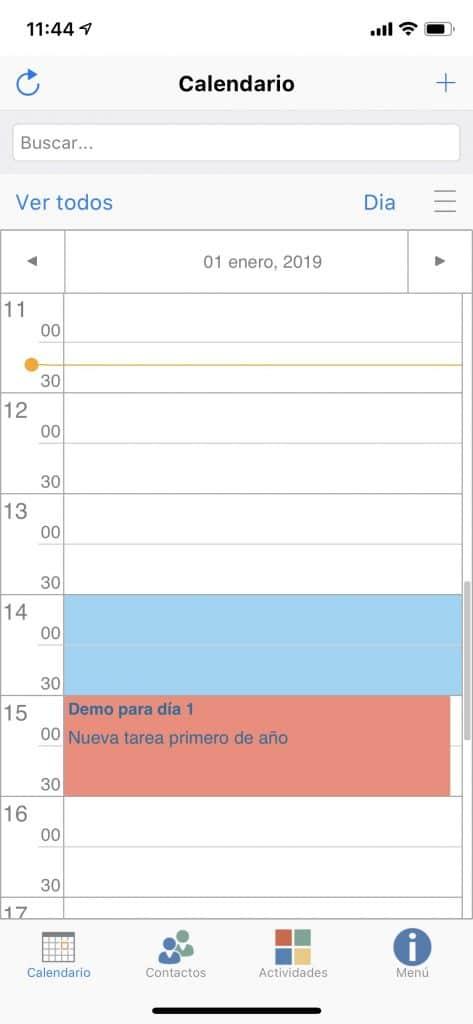 Z-Agenda móvil pantalla principal