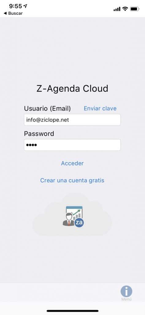 Z-Agenda móvil pantalla de inicio
