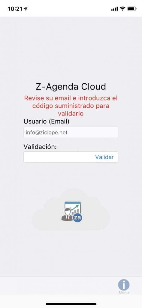 Z-Agenda móvil pantalla de validación